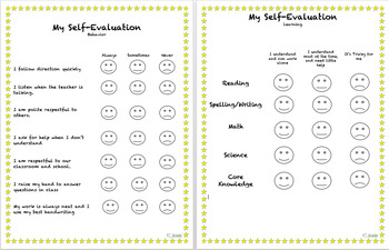 Student Self Evaluation (1st Grade)