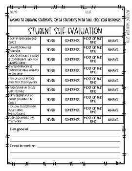 Student Self-Evaluation Form (All Subjects) - FREEBIE!