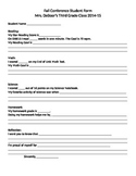 Student Self Evaluation Conference Form for Parents