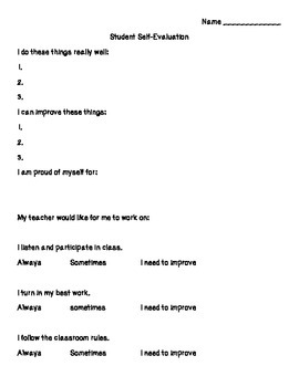 Student Self-Evaluation Form