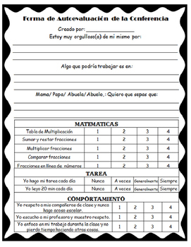 Student Self Evaluation Form for Conferences: English and Spanish!