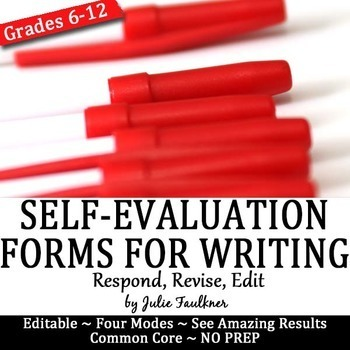 Self-Evaluation Forms for Students, Any Mode, Editable, FREEBIE