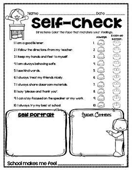 Student Self-Evaluation Reflection Checklist Survey Conferences Primary