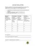Student Self Evaluation Rubric