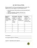 Student Self Evaluation Rubric