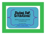 Student Self Evaluation Sheets {Perfect for Parent Teacher Conferences}