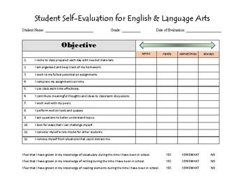 Student Self-Evaluation for ELA