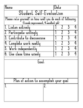 Student Self-Evaluation for PTC/SEP
