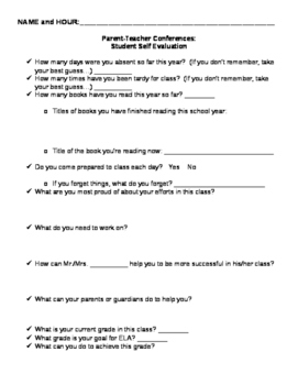 Student Self Evaluation for Parent-Teacher Conferences