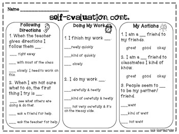 student self evaluation templates - student self evaluation for report cards or conferences