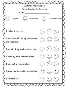 Student Self Evaluation form