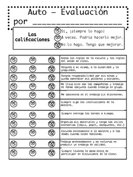 Student Self-Evaluation/Auto-Evaluación del Estudiante