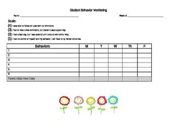 Student Self Monitoring Behavior Chart