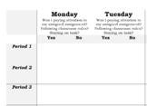 Student Self-Monitoring of Behaviors Checklist for SPED, Gen Ed, Psychs, Bx!