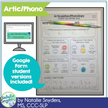 Student Self Rating Scales for Articulation, Phonology, & Stuttering for SLPs
