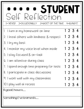 Student Self Reflection- Perfect for report cards or conferences