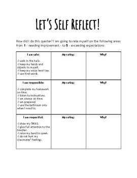 Student Self Reflection Form