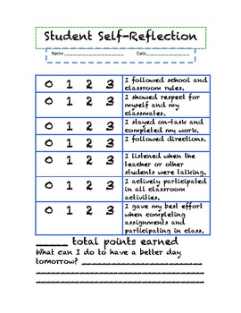 Student Self-Reflection Forms