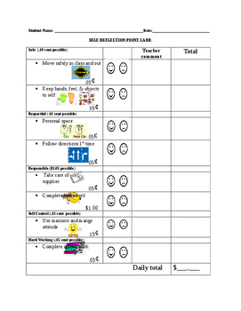 Editable Student Self Reflection Point Card with Pictures