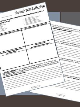 Building Character - Student Self-Reflection Worksheet (End of 1st Quarter)