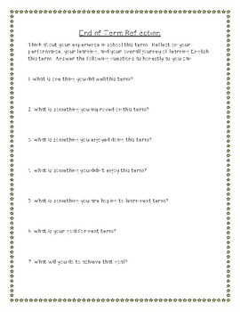 Student Self-Reflection Worksheets (PBLA)