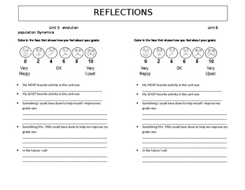 Student Self Reflection and Data Sheet