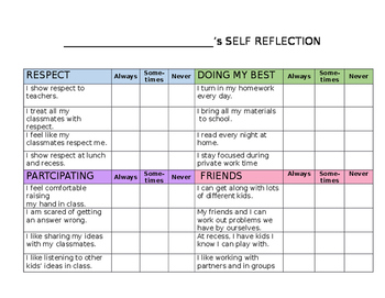 Student Self Reflection For Conferences Worksheets & Teaching