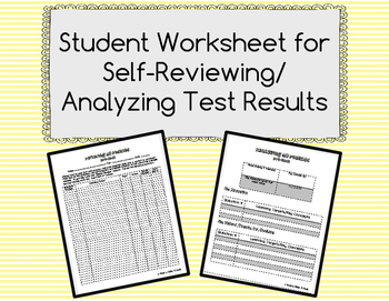 Student Worksheet for Self-Review/Analysis of Test Results