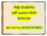 Student Self-assessment Behavior Rubric FREEBIE!!