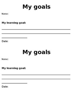 Student Self-learning goals