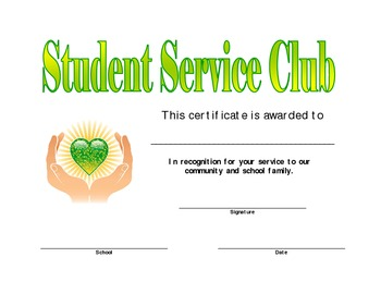 Student Service Club Award Certificate