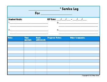 Student Service Log for Special Educators or Service Providers