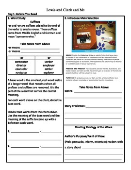 Student Sheets/Close Reading Unit 1 Week 2 Lewis and Clark and Me