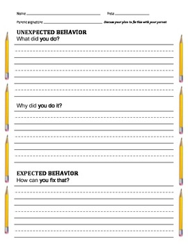 "Student Sheets: ""Unexpected Behavior"" and 2-minute ""What's Stopping My Learning"""