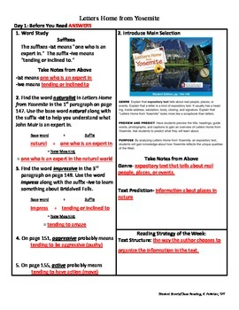 Student Sheets/Close Reading Unit 1 Week 5 Letters Home from Yosemite