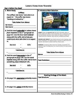 Student Sheets/Close Reading Unit 1 Week 5 Letters Home fr