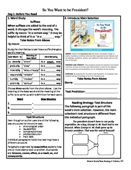 Student Sheets/Close Reading Unit 2 Week 5 So You Want to be President?