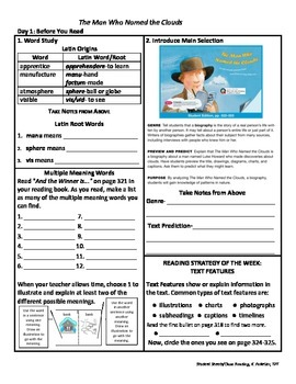 Student Sheets/Close Reading Unit 3 Wk 1 Main Selection Man Who Named the Clouds