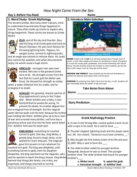 Student Sheets/Close Reading Unit 3 Wk 3 Main Selection How Night Came from Sea