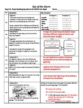 Student Sheets/Close Reading Unit 3 Wk 4 Main Selection Eye of the Storm