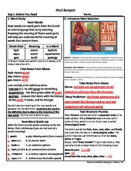 Student Sheets/Close Reading Unit 3 Wk 5 Main Selection Paul Bunyan