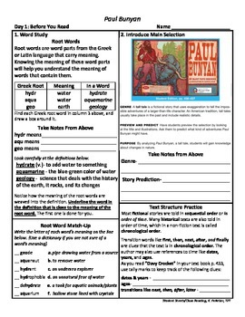 Student Sheets/Close Reading Unit 3 Wk 5 Main Selection Paul Bunyan