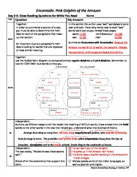 Student Sheets/Close Reading Unit 4 Wk 2 Main Selection Encantado Pink Dolphin