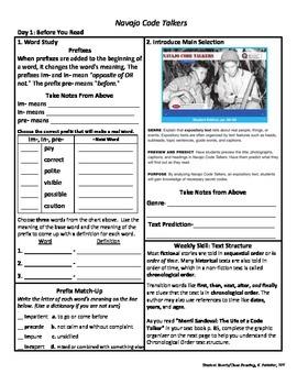 Student Sheets/Close Reading Unit 4 Wk 3 Main Selection Navajo Code Talkers