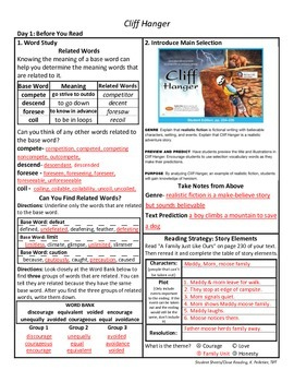 Student Sheets/Close Reading Unit 5 Wk 3 Cliff Hanger