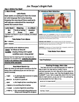 Student Sheets/Close Reading Unit 6 Wk 2 Jim Thorpe's Bright Path