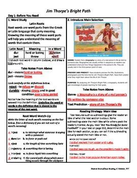 Student Sheets/Close Reading Unit 6 Wk 2 Jim Thorpe's Bright Path