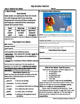 Student Sheets/Close Reading Unit 6 Wk 1 My Brother Martin