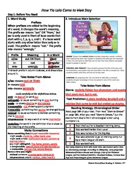 Student Sheets/Close Reading Unit 6 Wk 3 How Tia Lola Came to Visit Stay