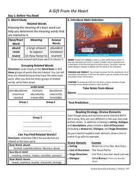 Student Sheets/Close Reading Unit 6 Wk 4 A Gift From the Heart